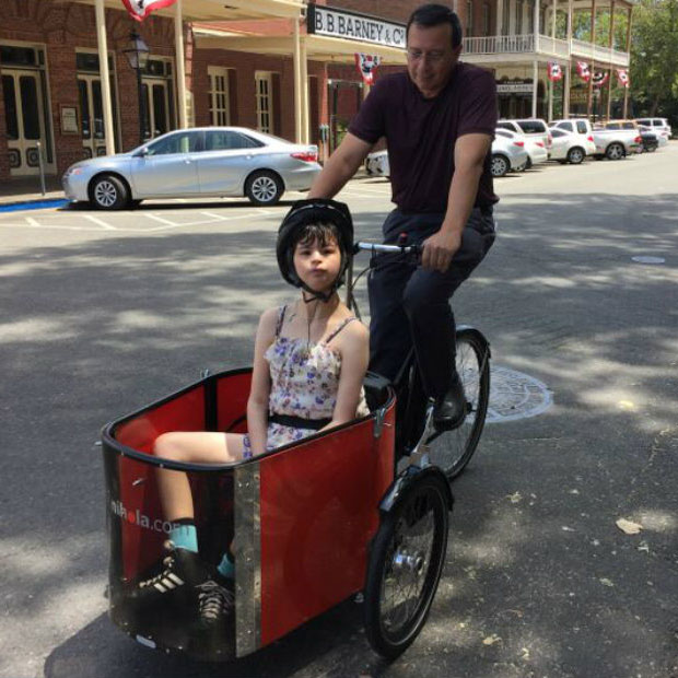 David and daughter Camille on Nihola Family trike