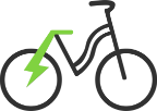 Black icon of bicycle