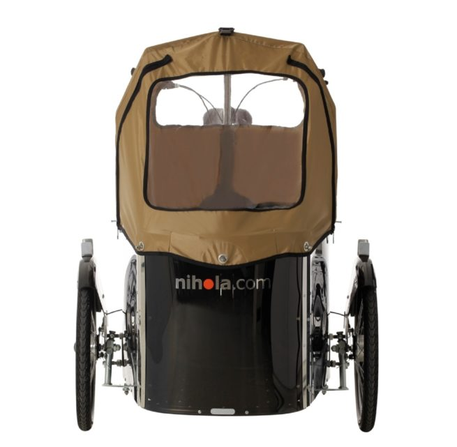 nihola cargo bike with rain hood closed